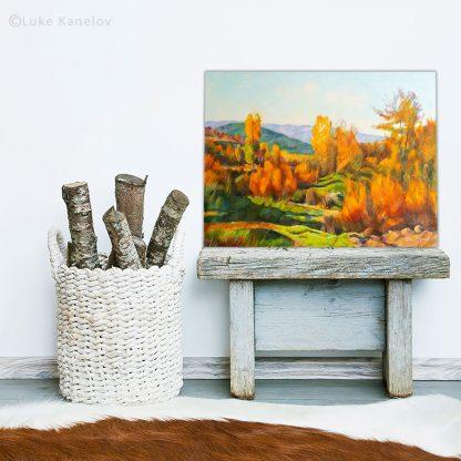 Картина пейзаж Огнена есен