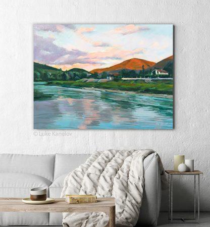 Картина пейзаж Залез край Струма