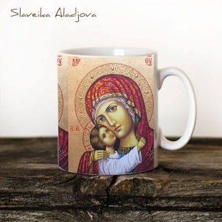чаша с икона на света богородица рилска