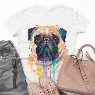 Тениска с печат мопс