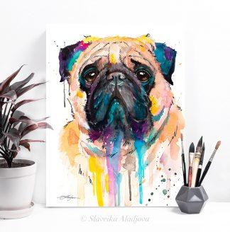 Картина с мопс. Избери оригинален подарък за любители на кучета. Подари картина с куче - художник Славейка Аладжова