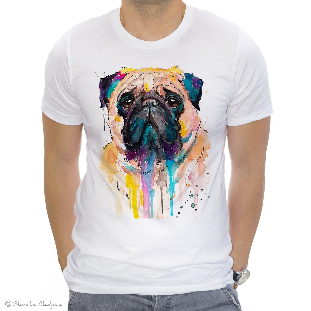 мъжка тениска с мопс