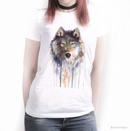Тениска с вълк кафяв