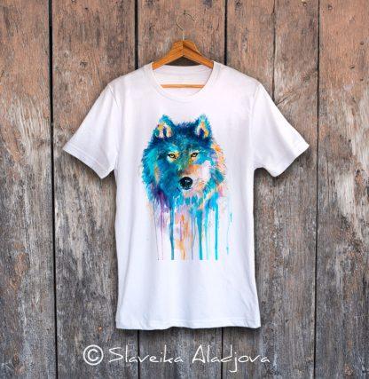 Тениска със син вълк