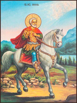 Икона Свети Мина на кон