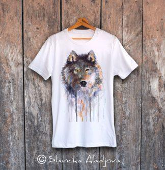 мъжка тениска с вълк кафяв