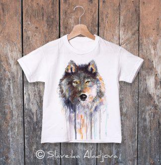 детска тениска вълк кафяв