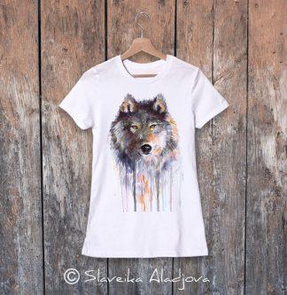 дамска тениска с вълк кафяв