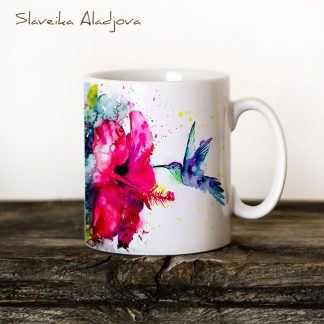 Чаша колибри с китайска роза