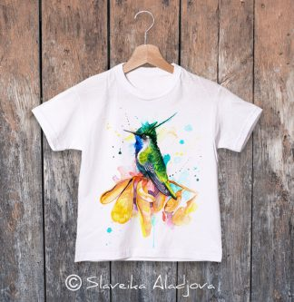 детска тениска с Колибри Златен коронован смарагд