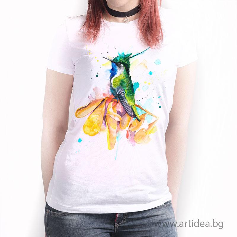 дамска  тениска – Колибри Златен коронован смарагд