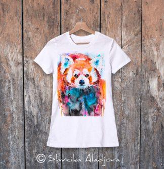 Дамска тениска червена панда