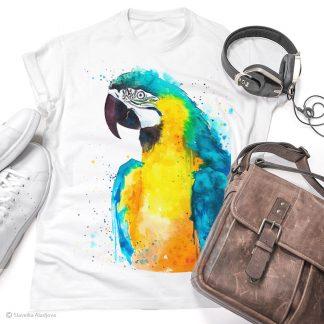 Тениска с цветен папагал