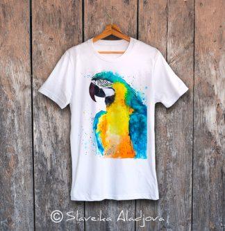 мъжка тениска с принт жълт папагал
