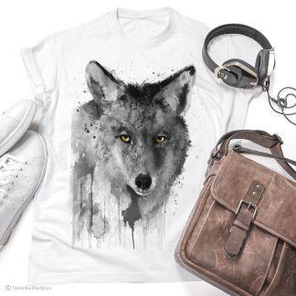 тениска с черно-бял койот
