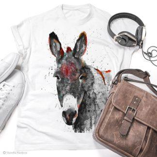 тениска с черно-бяло магаре