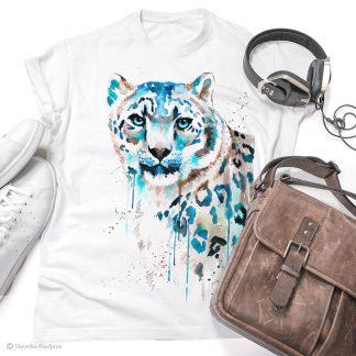 тениска със снежен леопард