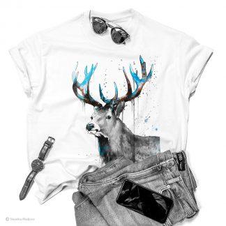 тениска с черно-бял червен елен