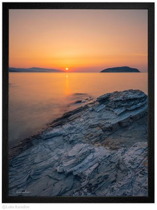Огнен морски изгрев, пейзажна морска фотография