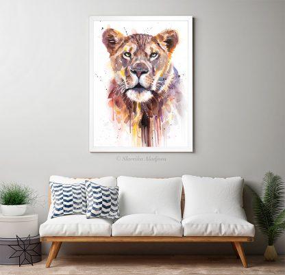 Африканска лъвица, акварелна картина, художник Славейка Аладжова