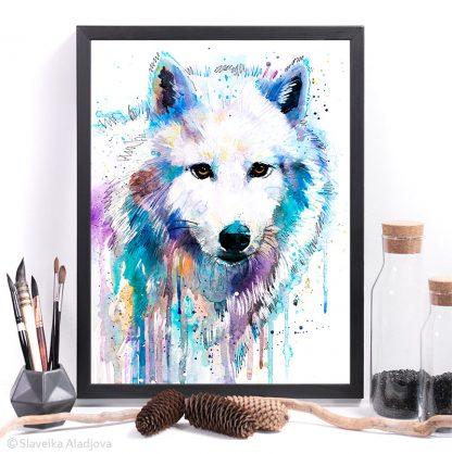 Арктически вълк, Бял вълк, акварелна картина, художник Славейка Аладжова