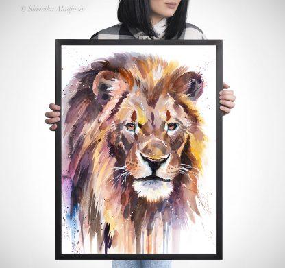 Африканска лъв, акварелна картина, художник Славейка Аладжова