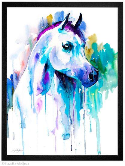 Арабски кон, акварелна картина, художник Славейка Аладжова