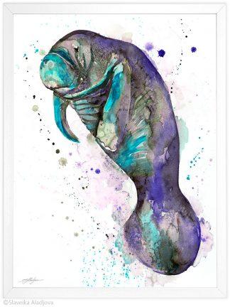 Ламантин, Морска Крава, акварелна картина, художник Славейка Аладжова