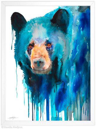 Американска черна мечка, акварелна картина, художник Славейка Аладжова