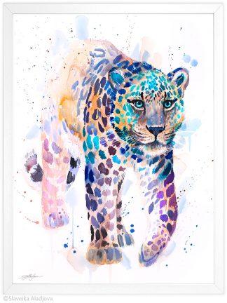 Амурски леопард, акварелна картина, художник Славейка Аладжова