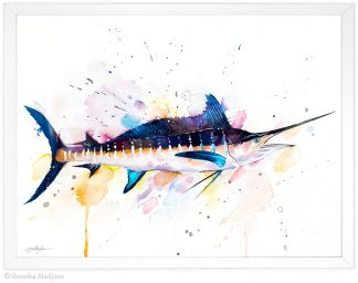 Атлантически син марлин, акварелна картина, художник Славейка Аладжова