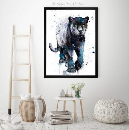 Картина черна пантера акварел