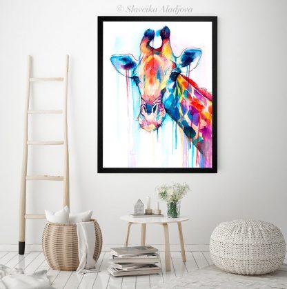 Жираф, акварелна картина
