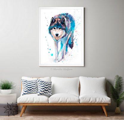 Вълк, акварелна картина
