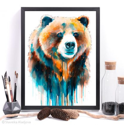 гризли, мечка, акварелна картина художник славейка аладжова