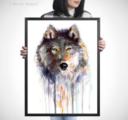 Вълк, акварелна картина, художник Славейка Аладжова