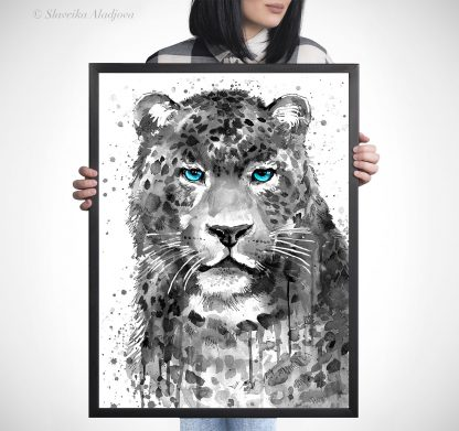 черно бял леопард акварелна картина художник славейка аладжова