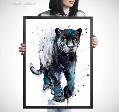 черна пантера акварелна картина художник славейка аладжова