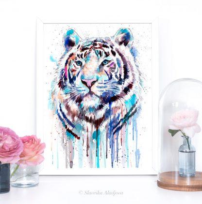 Бял бенгалски тигър, акварелна картина, художник Славейка Аладжова