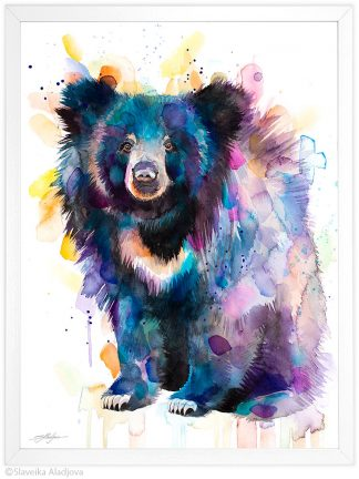Бърнеста мечка, акварелна картина, художник Славейка Аладжова