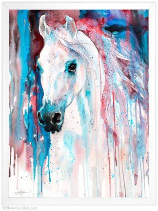 Бял кон, акварелна картина, художник Славейка Аладжова