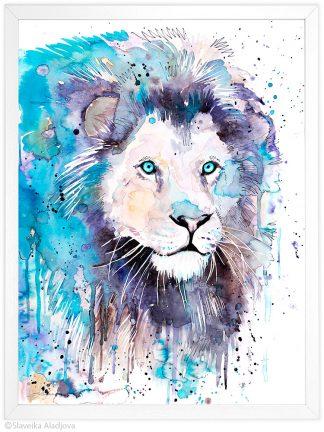 Бял лъв, акварелна картина, художник Славейка Аладжова