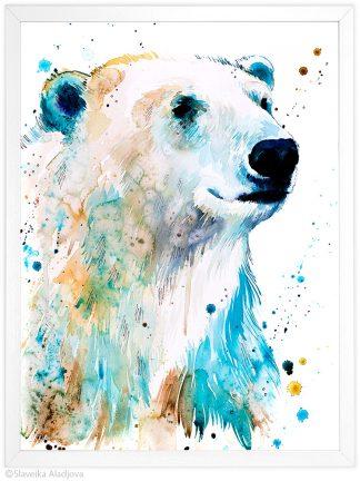 Бяла мечка, Полярна мечка, акварелна картина, художник Славейка Аладжова
