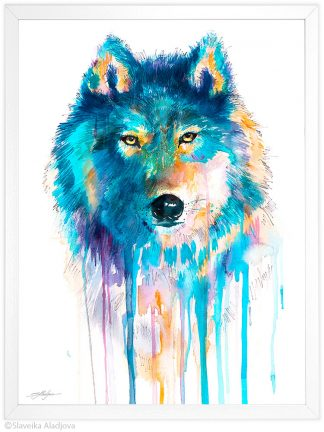 Син вълк акварелна картина художник славейка аладжова