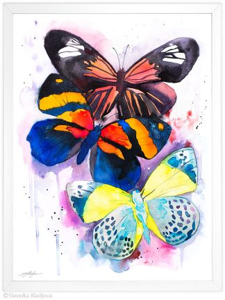 пеперуди акварелна картина художник славейка аладжова