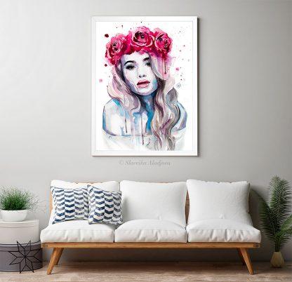 жена с рози акварелна картина художник славейка аладжова