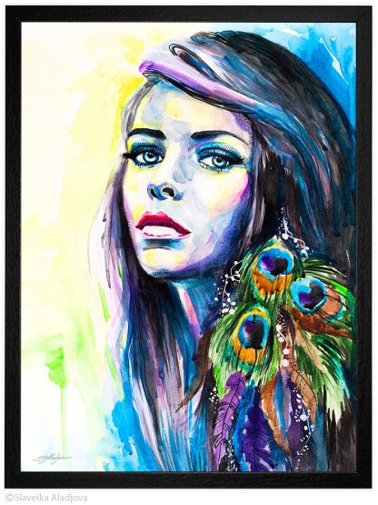 жена с паунови пера акварелна картина художник славейка аладжова