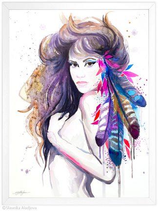 жена с пера акварелна картина художник славейка аладжова