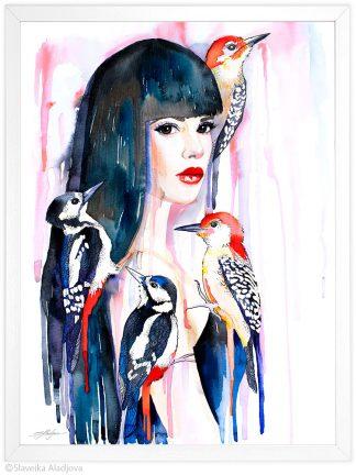 жена с кълвачи акварелна картина художник славейка аладжова