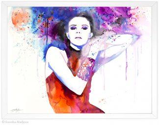 Жена с цветни коси, акварелна картина, художник Славейка Аладжова